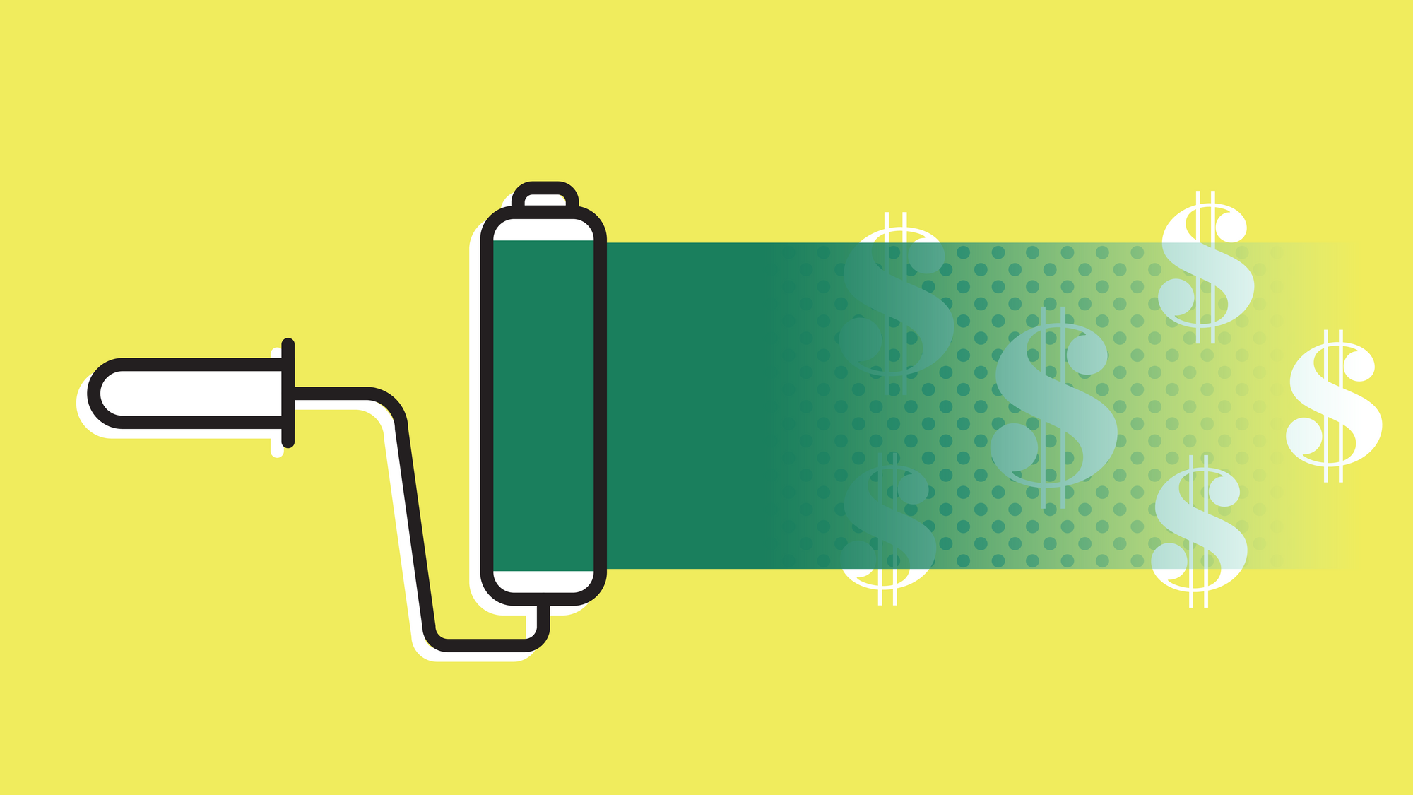 A yellow background and a paint roller painting green paint over dollar signs.