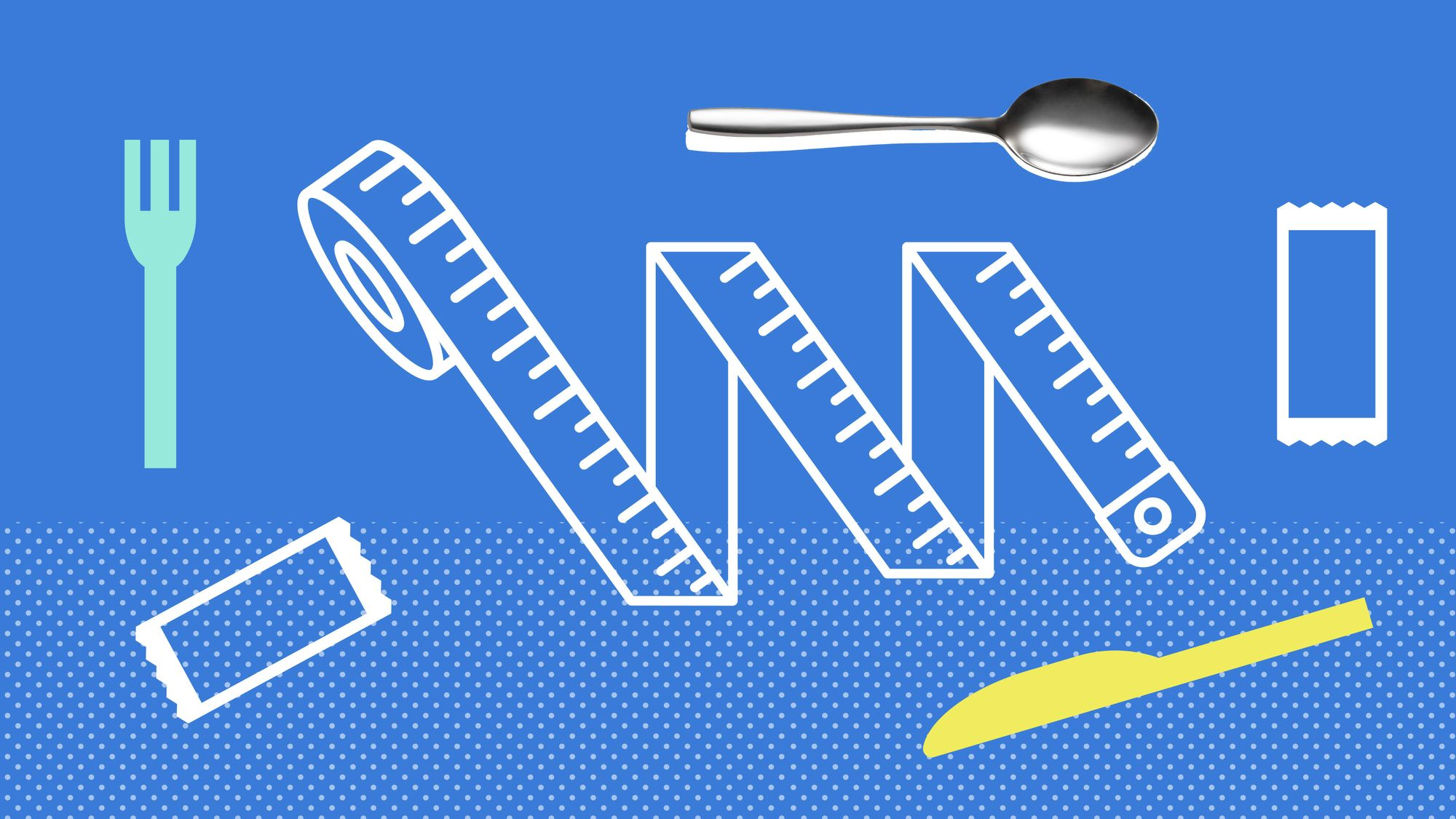 """Graphic representing the stuff you would find in """"that kitchen drawer, the one stuffed with gadgets, utensils, and sauce packets."""""""