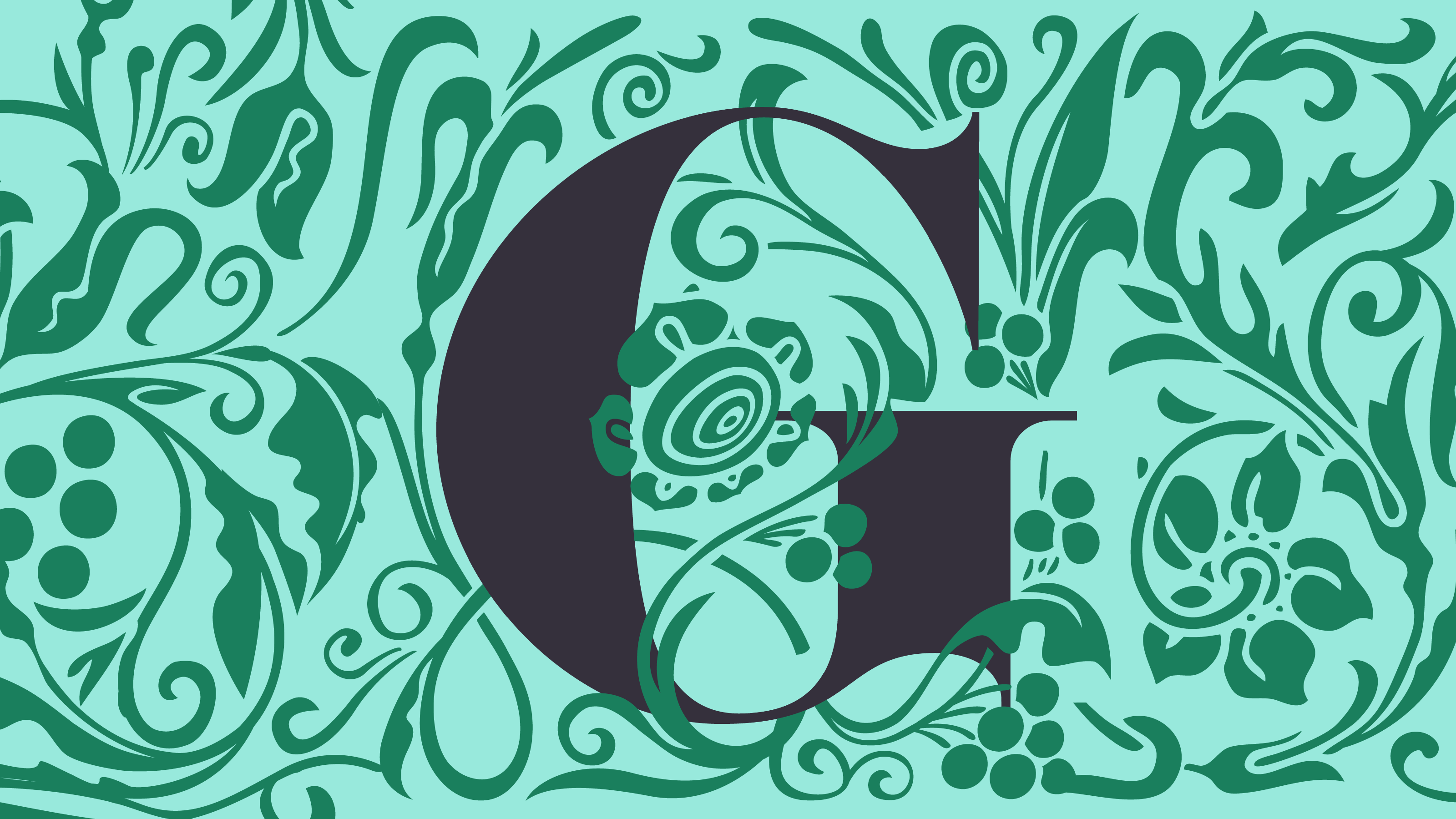 """Illustration of """"G"""" letter surrounded by green vines"""
