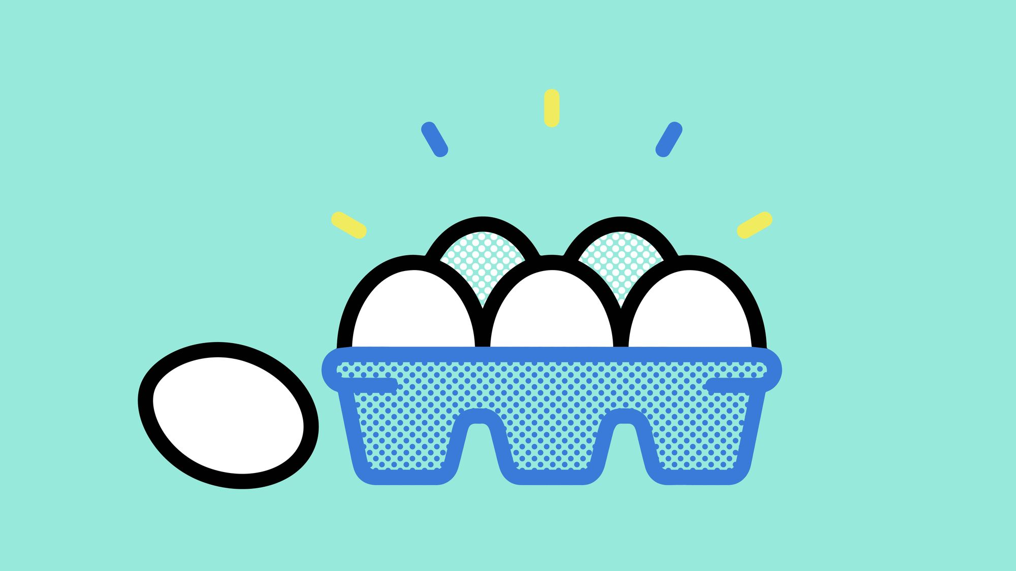Graphic of full carton of eggs with one egg outside carton.