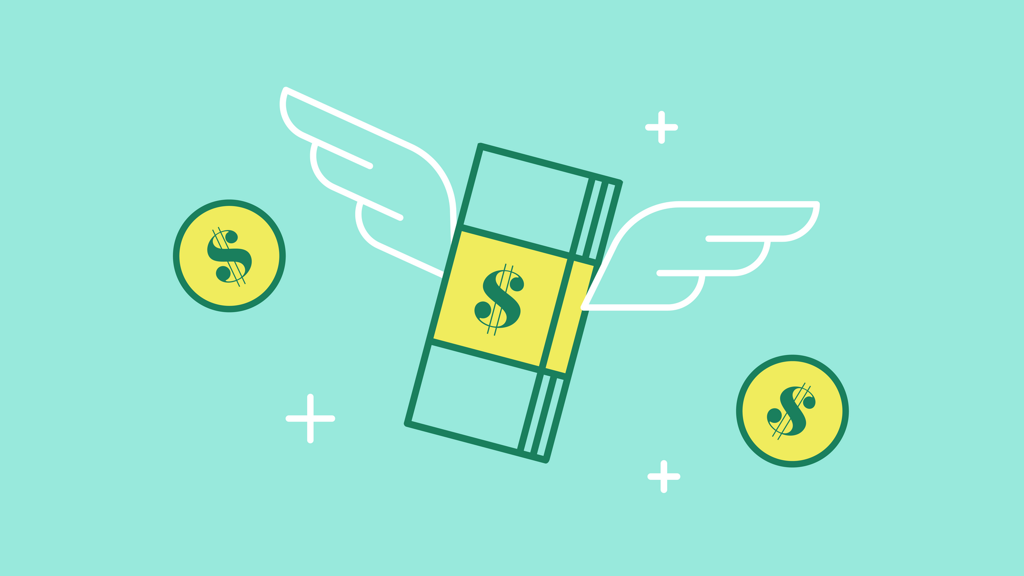 Graphic of dollar with angel wings flying alongside coins.