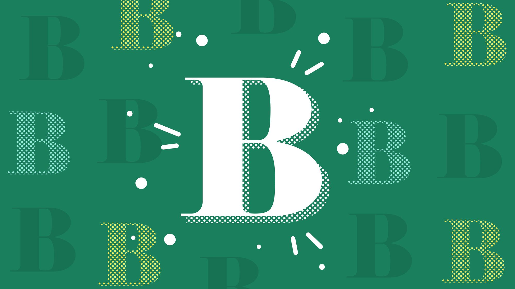 """Graphic featuring pattern of uppercase """"B"""" letters with a larger """"B"""" in the middle"""