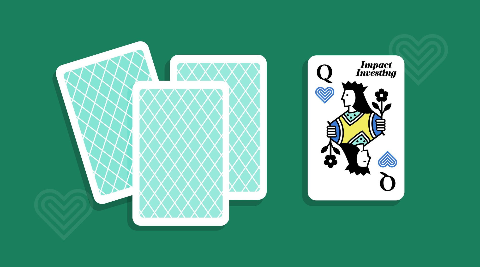 A graphic representing a card deck with a queen of hearts being shown.