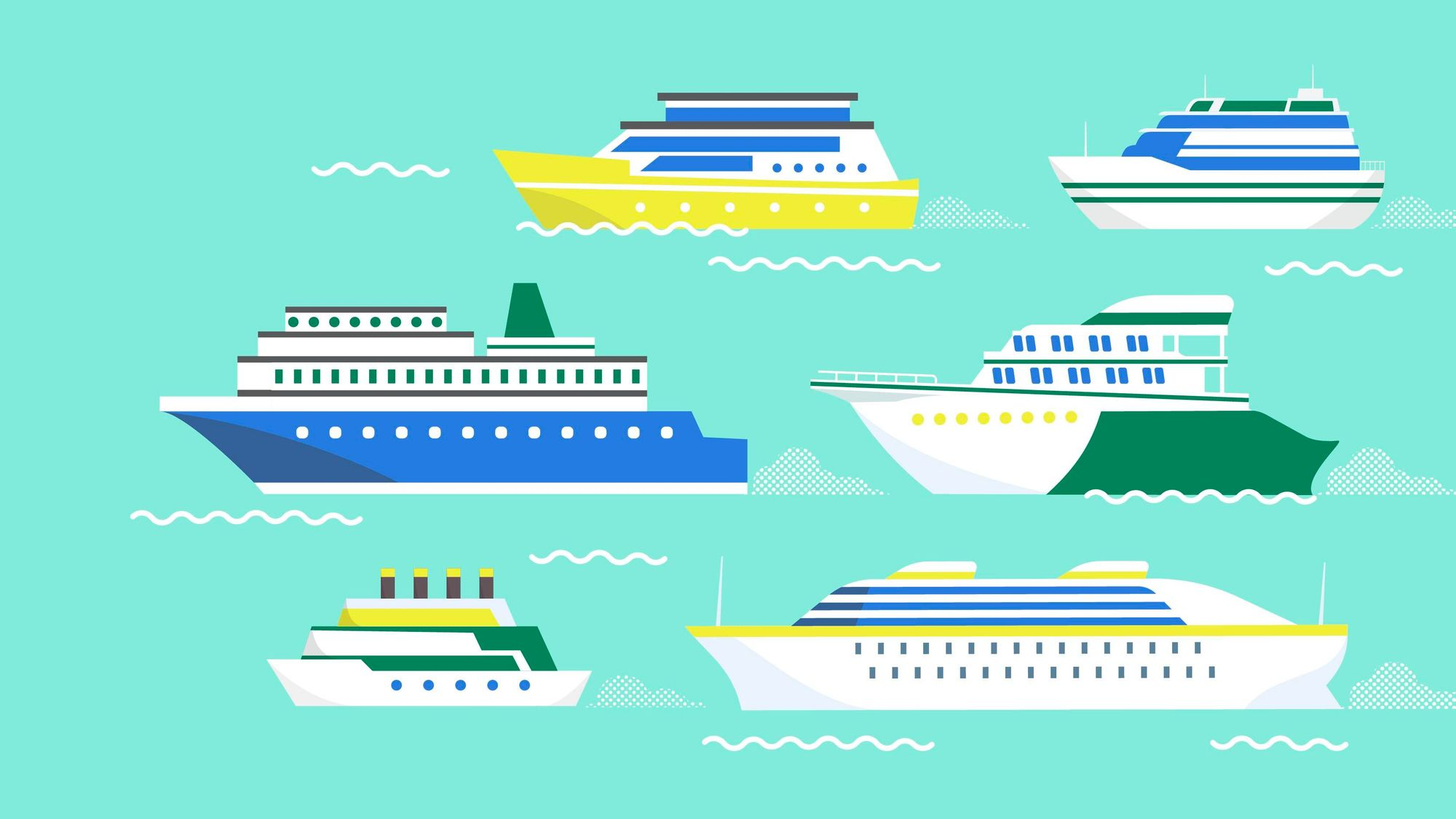 Graphic of several cruise ships